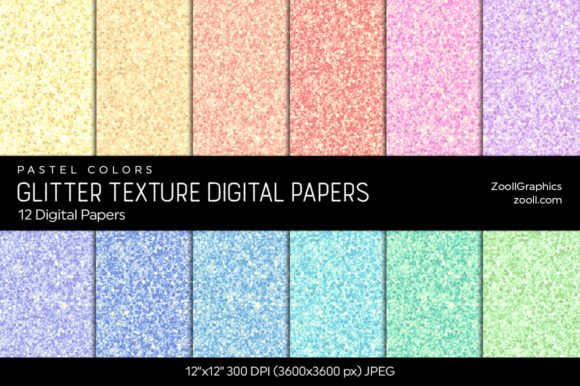 Glitter Digital Papers Pastel Colors Gráfico Texturas Por ZoollGraphics