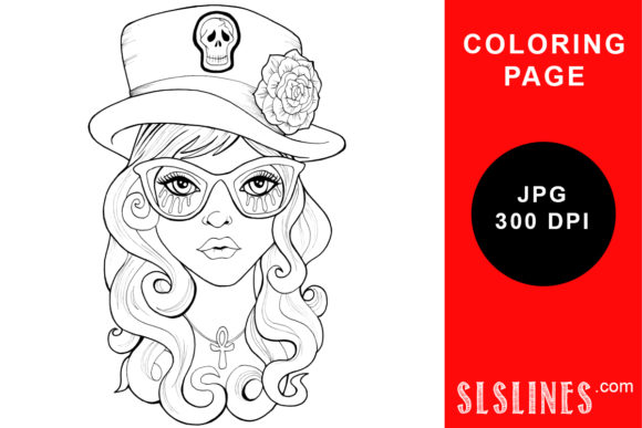 Print on Demand: Goth Girl in Top Hat Coloring Page Graphic Coloring Pages & Books Adults By SLS Lines