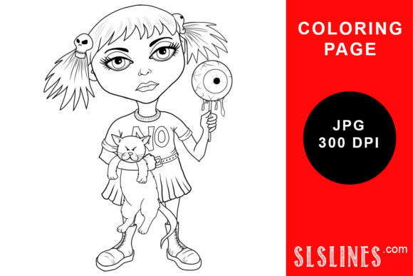 Print on Demand: Goth Girl with Eyeball Lollipop Coloring Graphic Coloring Pages & Books Adults By SLS Lines
