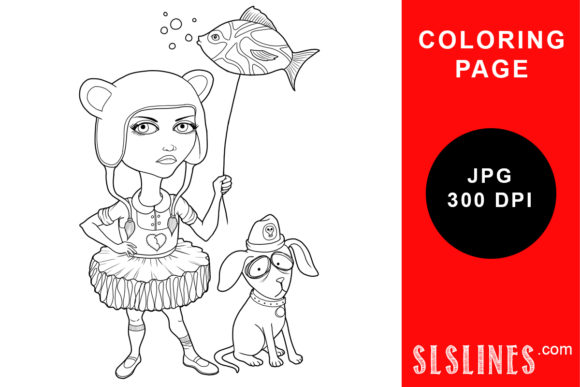 Print on Demand: Goth Girl with Fish Balloon Coloring Graphic Coloring Pages & Books Adults By SLS Lines