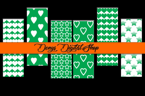 Green Digital Bookmarks Graphic Patterns By denysdigitalshop