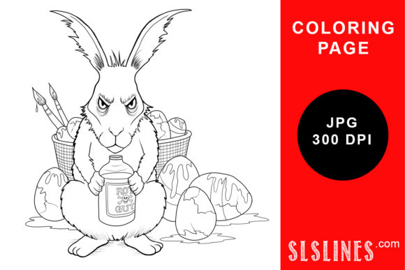 Download Free Grumpy Anti Easter Bunny Coloring Page Grafico Por Sls Lines for Cricut Explore, Silhouette and other cutting machines.