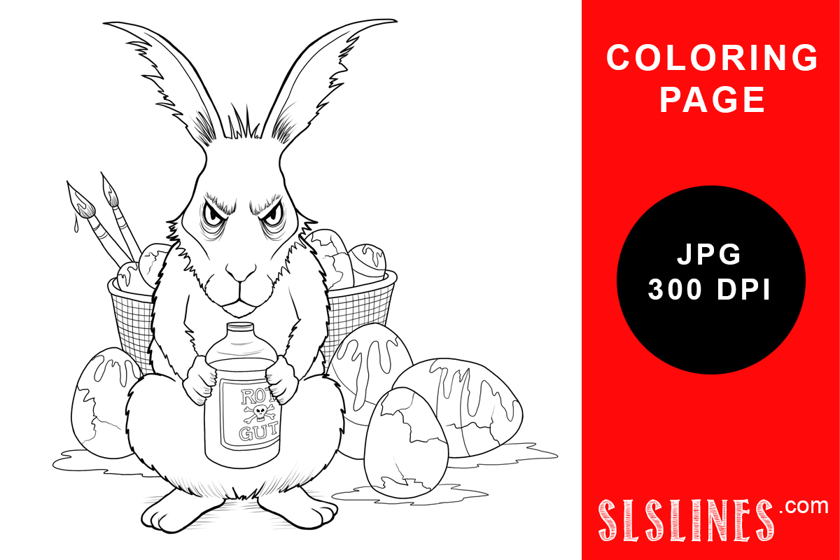 Download Free Grumpy Anti Easter Bunny Coloring Page Graphic By Sls Lines for Cricut Explore, Silhouette and other cutting machines.