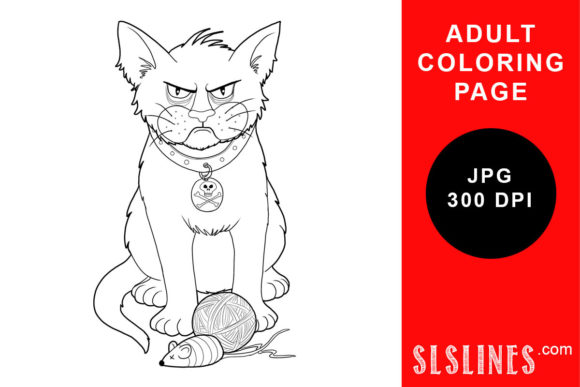 Print on Demand: Grumpy Cat with Yarn Coloring Page Graphic Coloring Pages & Books Adults By SLS Lines