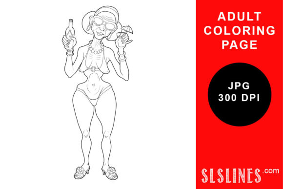 Print on Demand: Happy Beach Lady with a Drink Coloring Graphic Coloring Pages & Books Adults By SLS Lines