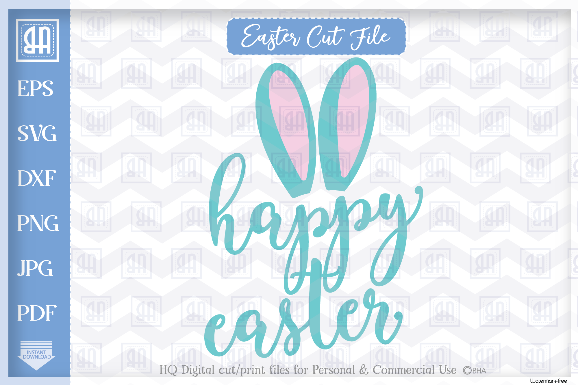 Download Free Happy Easter Bunny Bunny Ears Easter Graphic By Blueberry Hill for Cricut Explore, Silhouette and other cutting machines.
