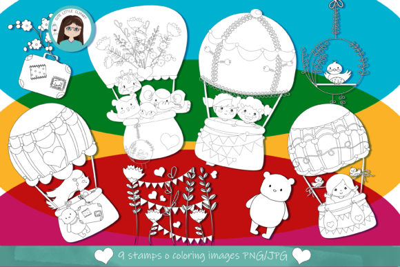 Hot Air Balloons Stamps Graphic Coloring Pages & Books Kids By CuteLittleClipart