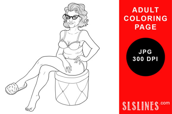 Print on Demand: Hot Mama in Slippers Coloring Page Graphic Coloring Pages & Books Adults By SLS Lines