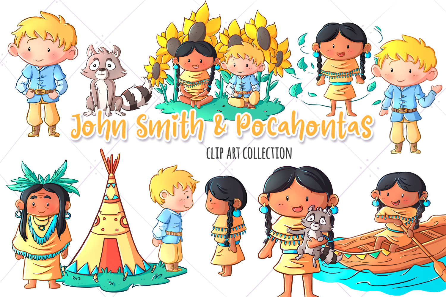 Download Free John Smith And Pocahontas Clip Art Graphic By for Cricut Explore, Silhouette and other cutting machines.