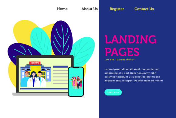 Landing Page Hospital and Healthycare Graphic UX and UI Kits By griyolabs