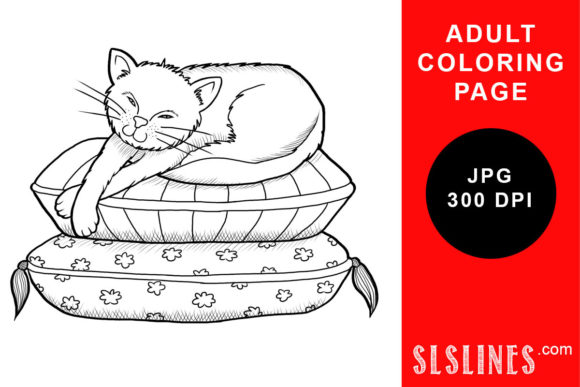 Print on Demand: Lazy House Cat Coloring Page Graphic Coloring Pages & Books Adults By SLS Lines