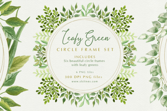 Print on Demand: Leafy Green Circle Frames Watercolors Graphic Illustrations By SLS Lines