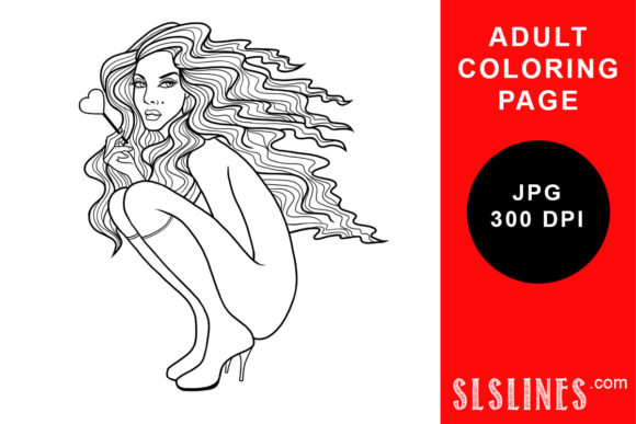 Print on Demand: Long Hair with a Lollipop Adult Coloring Graphic Coloring Pages & Books Adults By SLS Lines