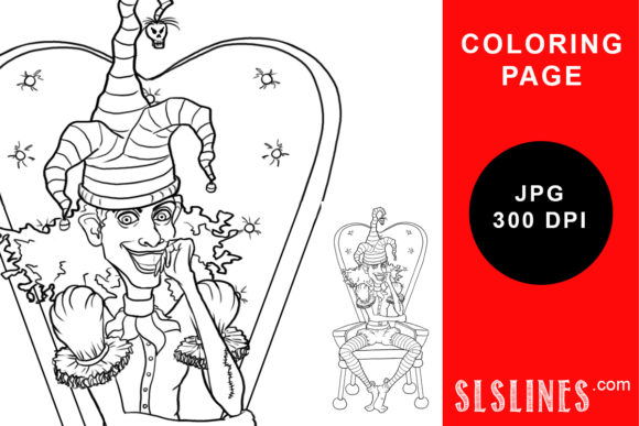 Print on Demand: Mad Court Jester Coloring Page Graphic Coloring Pages & Books Adults By SLS Lines