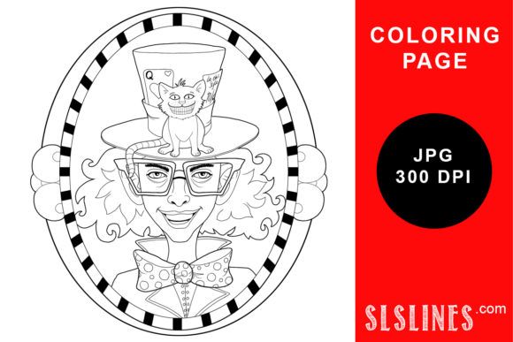 Print on Demand: Mad Hatter Coloring Page Graphic Coloring Pages & Books Adults By SLS Lines