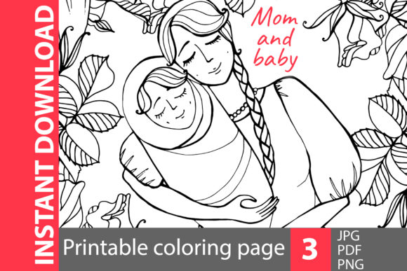 Mom and Baby - Coloring Pages Graphic Coloring Pages & Books Adults By NataliMyaStore