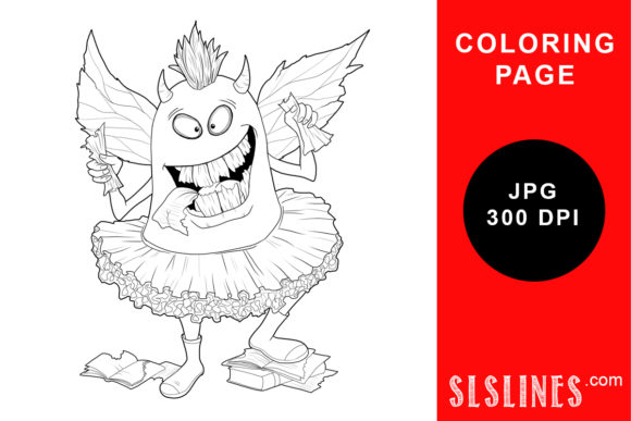 Print on Demand: Monster Book Lover Coloring Page Graphic Coloring Pages & Books Adults By SLS Lines
