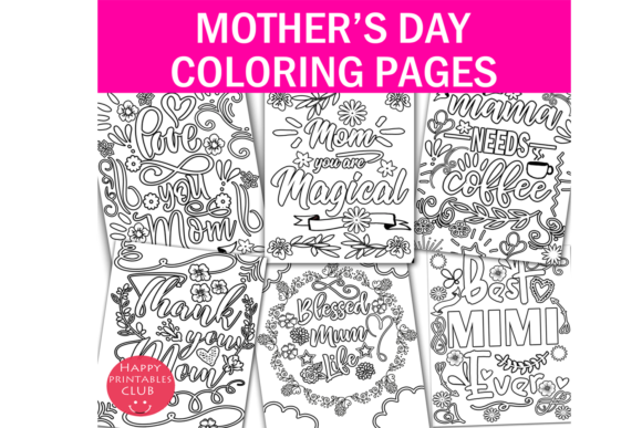 Print on Demand: Mothers Day Coloring Graphic Coloring Pages & Books Kids By Happy Printables Club