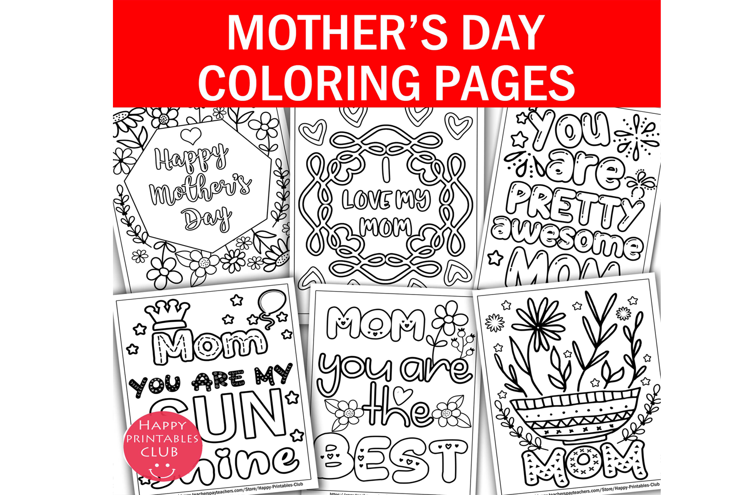 Mothers Day Coloring Pages Printables Graphic By Happy