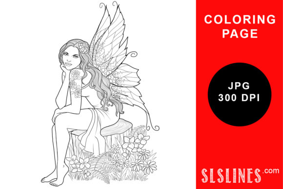 Print on Demand: Nature Fairy on Tree Stump Coloring Page Graphic Coloring Pages & Books Adults By SLS Lines