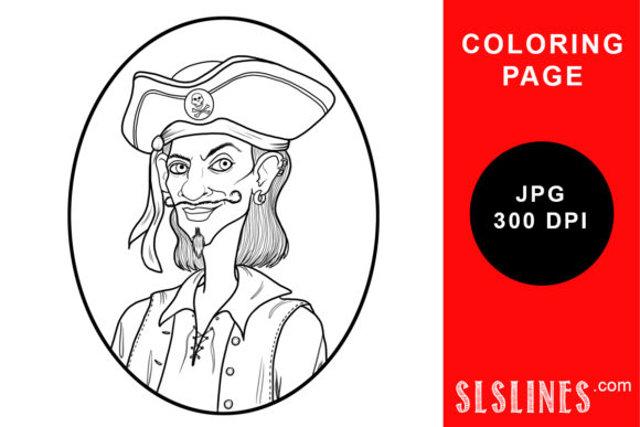 Print on Demand: One Handsome Pirate Coloring Page Graphic Coloring Pages & Books Adults By SLS Lines