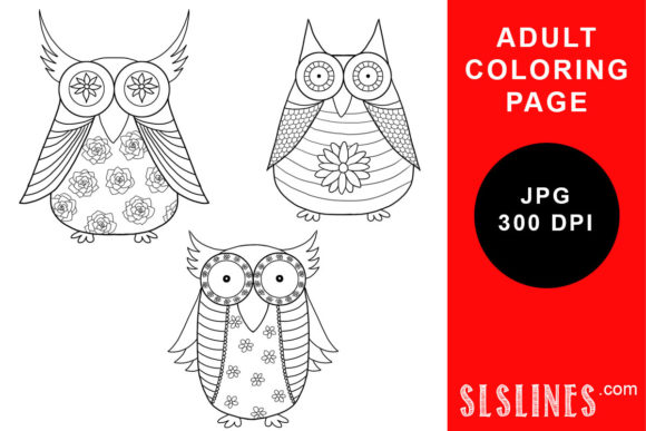 Print on Demand: Owl Trio Coloring Pages Gráfico Libros para colorear - Adultos Por SLS Lines