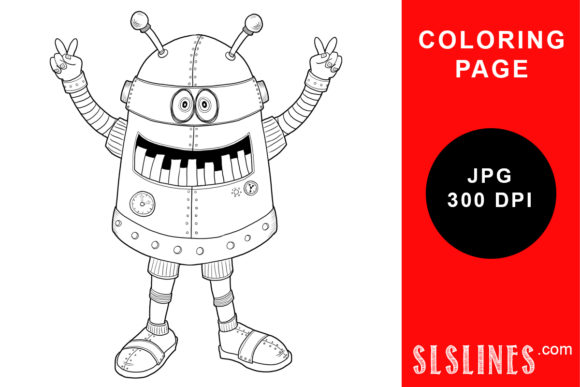 Print on Demand: Peace Robot Send His Love Coloring Page Graphic Coloring Pages & Books Adults By SLS Lines - Image 1