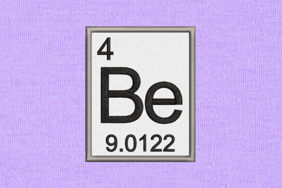Periodic Element 4 Be Beryllium Applique Back to School Embroidery Design By DesignedByGeeks