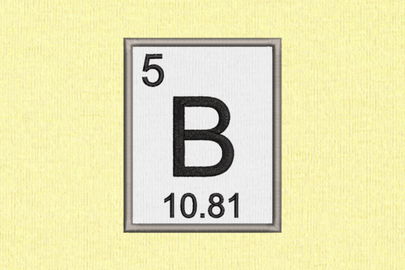 Periodic Element 5 B Boron Applique Back to School Embroidery Design By DesignedByGeeks