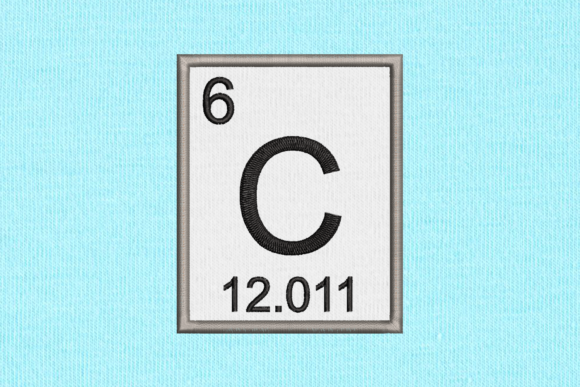 Periodic Element 6 C Carbon Applique Back to School Embroidery Design By DesignedByGeeks