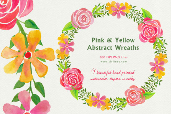 Download Free Pink Yellow Abstract Floral Wreaths Graphic By Sls Lines for Cricut Explore, Silhouette and other cutting machines.
