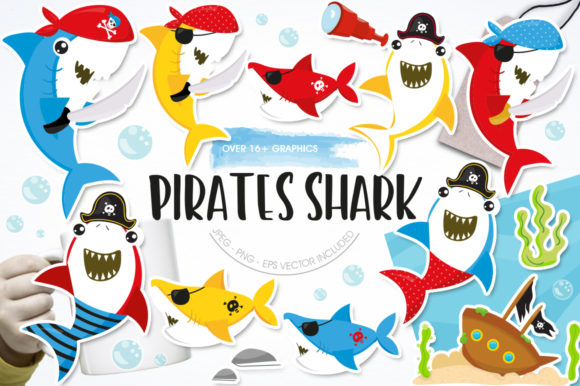 Print on Demand: Pirate Shark Graphic Graphic Templates By Prettygrafik