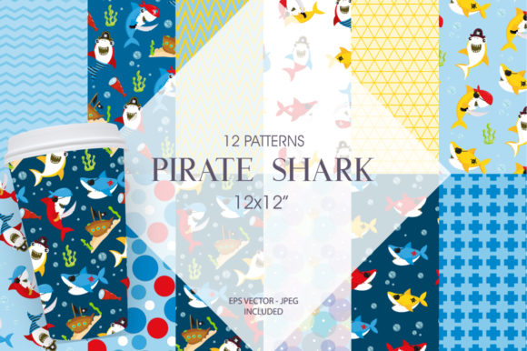 Print on Demand: Pirate Shark Graphic Patterns By Prettygrafik