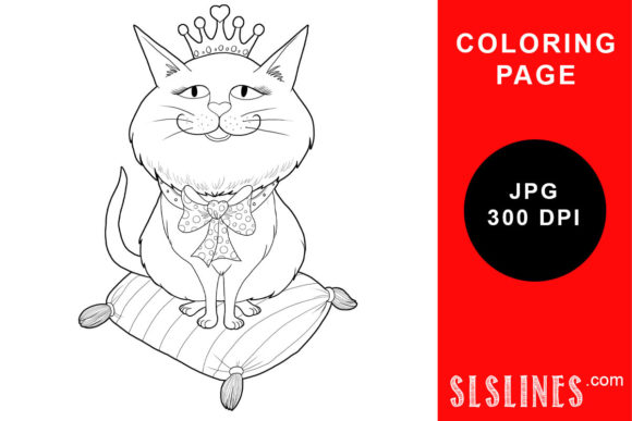 Download Free Princess Kitty On A Pillow Coloring Page Graphic By Sls Lines for Cricut Explore, Silhouette and other cutting machines.