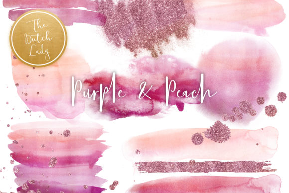 Print on Demand: Purple & Peach Watercolor Clipart Gráfico Crafts Por daphnepopuliers