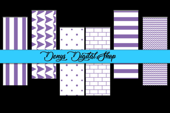Purple Stripes, Digital Stripes Graphic Patterns By denysdigitalshop