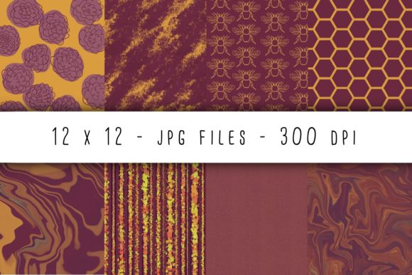 Print on Demand: Queen Bee Digital Paper Graphic Backgrounds By RoughDraftDesign