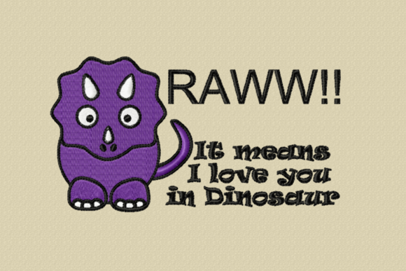 Print on Demand: Raww!! I Love You Dinosaurs Embroidery Design By Tash Jurmann