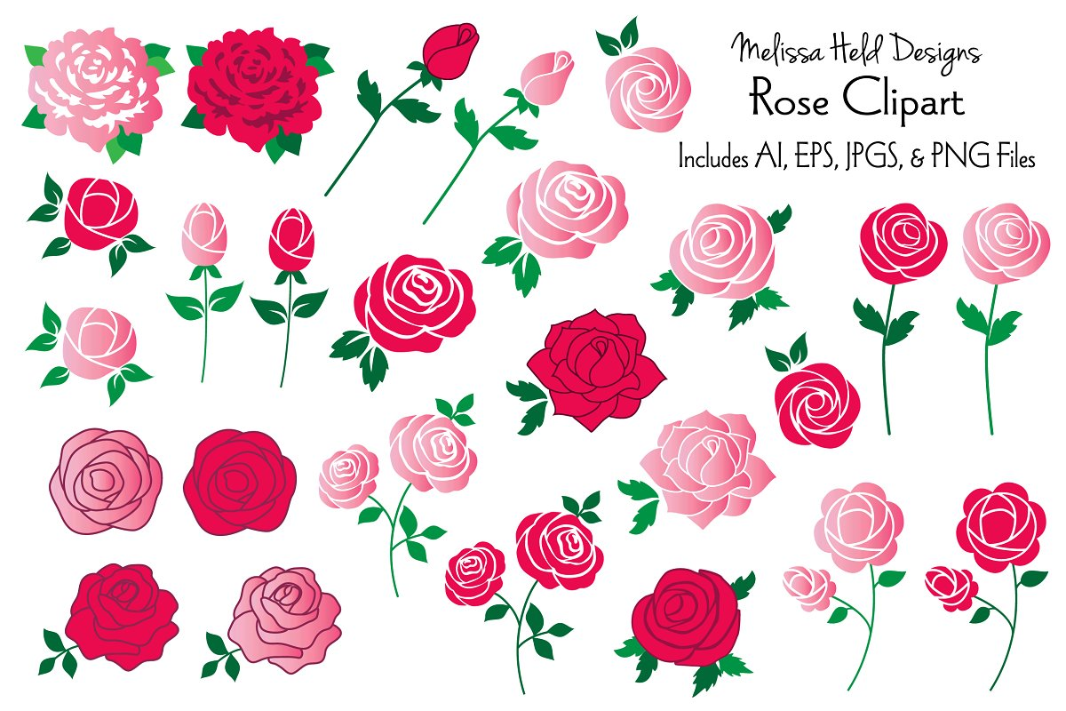 Download Free Rose Clipart Graphics Graphic By Melissa Held Designs Creative for Cricut Explore, Silhouette and other cutting machines.