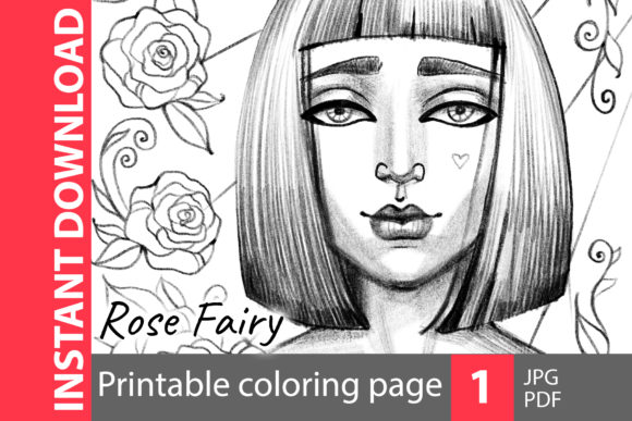 Rose Fairy - Coloring Page Graphic Coloring Pages & Books Adults By NataliMyaStore