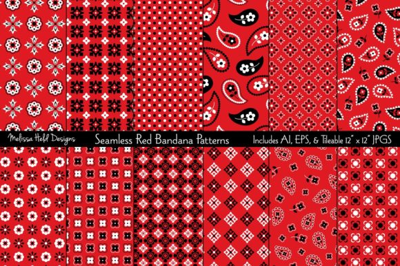 Seamless Red Bandana Patterns Grafik Muster von Melissa Held Designs