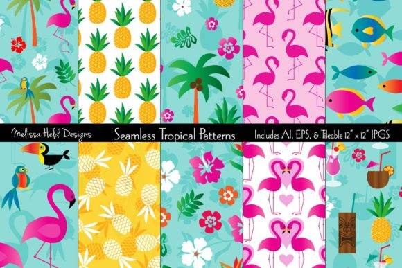 Seamless Tropical Flamingo & Pineapple P Grafik Muster von Melissa Held Designs