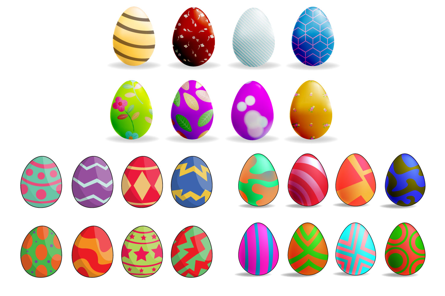 Download Free Set Of Color Easter Eggs Graphic By Iop Micro Creative Fabrica for Cricut Explore, Silhouette and other cutting machines.
