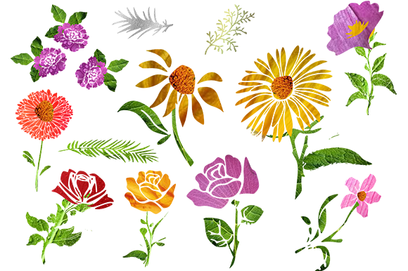 Print on Demand: Set of Flowers Graphic Illustrations By arts4busykids