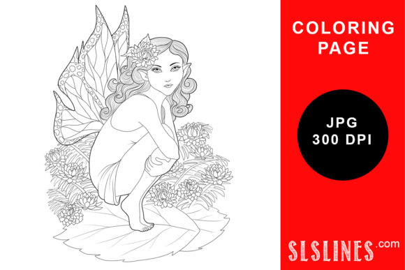 Print on Demand: Sitting Nature Fairy Coloring Page Graphic Coloring Pages & Books Adults By SLS Lines