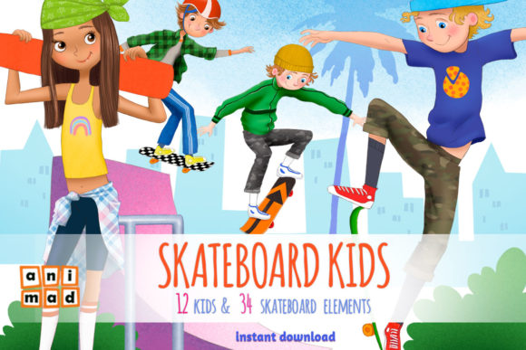 Download Free Skateboard Kids Graphic By Animaddesign Creative Fabrica for Cricut Explore, Silhouette and other cutting machines.
