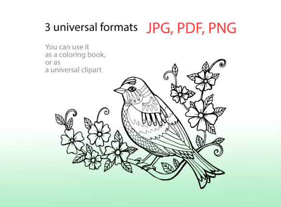 Spring Bird Coloring Page Graphic Coloring Pages & Books Adults By NataliMyaStore - Image 2