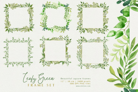 Download Free Square Watercolor Frames Leafy Greens Graphic By Sls Lines for Cricut Explore, Silhouette and other cutting machines.