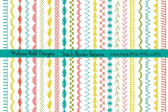 Stitch Border Patterns Grafik Muster von Melissa Held Designs