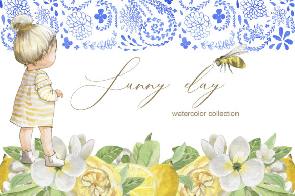 Print on Demand: Sunny Day Watercolor Collection Gráfico Ilustraciones Por laffresco04